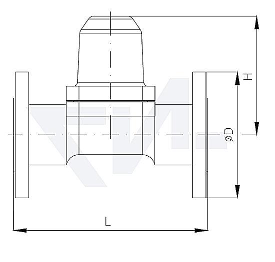 Конденсатоотводчик биметаллический проходной фланцевый, нерж. сталь с интегрированной сеткой PN40 тип 30.21.02