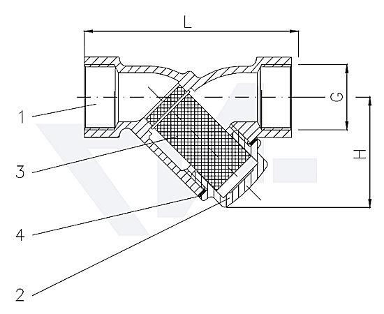Фильтр муфтовый «У»-тип, бронза Rg 5/сталь нерж. PN20 тип 30.50.03