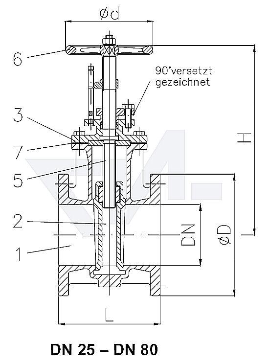 Задвижки клинкетные фланцевые DIN 3352 T2, из бронзы Rg5, невыдвижным шпинделем и с указателем положения PN16 тип ИНМР.35.01.00