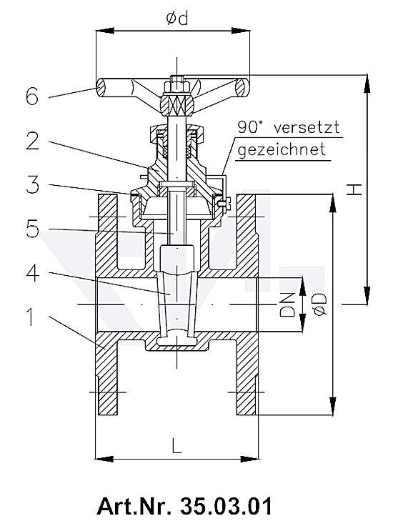 Задвижки клинкетные фланцевые DIN 86720, бронза Rg 5/SoMs 59 с невыдвижным шпинделем PN16 тип 35.03.00 / 35.03.01