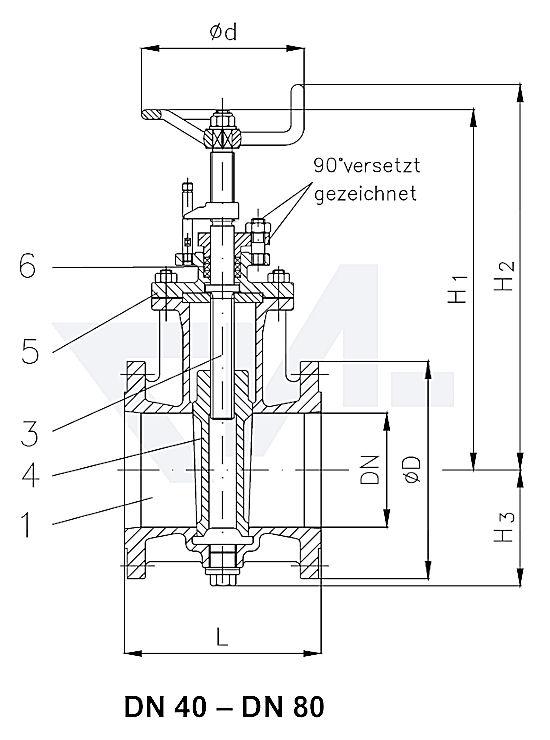 Фланцы-Schieber VG 85060, Gbz 10/CuSn 6 с невыдвижным шпинделем и с указателем положения PN10 тип 35.20.00