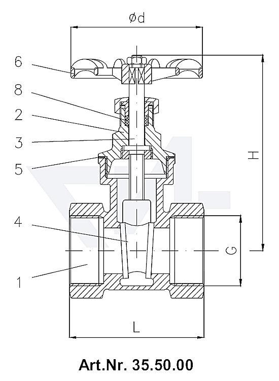 Задвижки клинкетные муфтовые DIN 3352 T12, бронза Rg 5/SoMs 59 с невыдвижным шпинделем тип 35.50.00 / 35.50.01