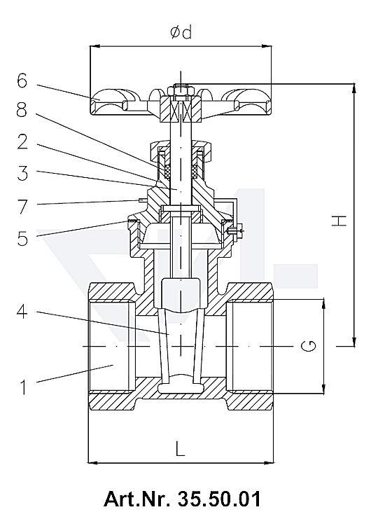 Задвижки клинкетные муфтовые DIN 3352 T12, бронза Rg 5/SoMs 59 с невыдвижным шпинделем тип 35.50.01 с фиксирующим кольцом (судостроительная норма)