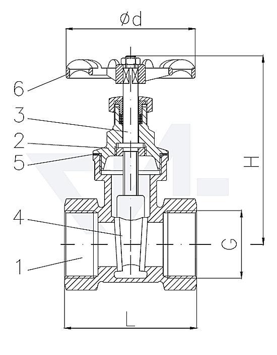 Задвижки клинкетные муфтовые, стандарт, Ms 58 с невыдвижным шпинделем тип 35.51.00