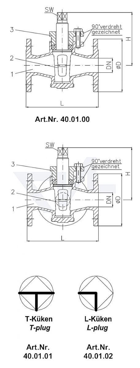 Кран-пробка фланцевый PN10, бронза Rg 5 с сальником тип 40.01.00