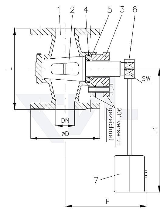 Кран проходной фланцевый, самозапорный, с грузом, бронза Rg 5 с О-образным кольцом PN10 тип 40.01.00-G