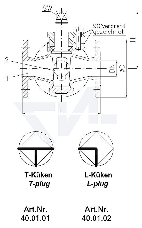 Кран-пробка фланцевый 3-х ходовой, серый чугун GG 25 / бронза Rg 5, с сальником PN10 тип 40.01.01 / 40.01.02