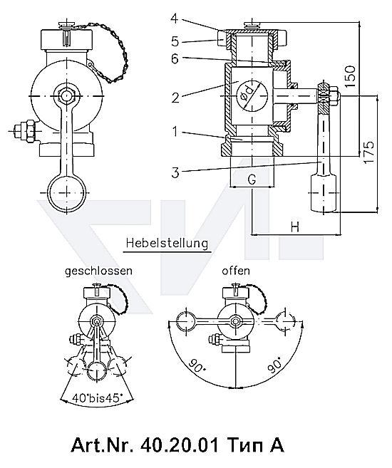 Кран-пробка мерительный самозапорный DIN 86120, бронза Rg 5 тип 40.20.01 / 40.20.02