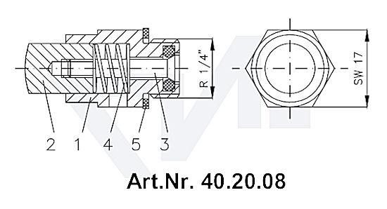 Пробный клапан для крана-пробки мерительной DIN 86120, Ms 58 тип 40.20.08