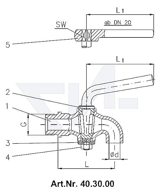 Кран дренажный DIN 87001, Rg 5 с металлической рукояткой, от DN 20 рукоятка-ключ тип 40.30.00