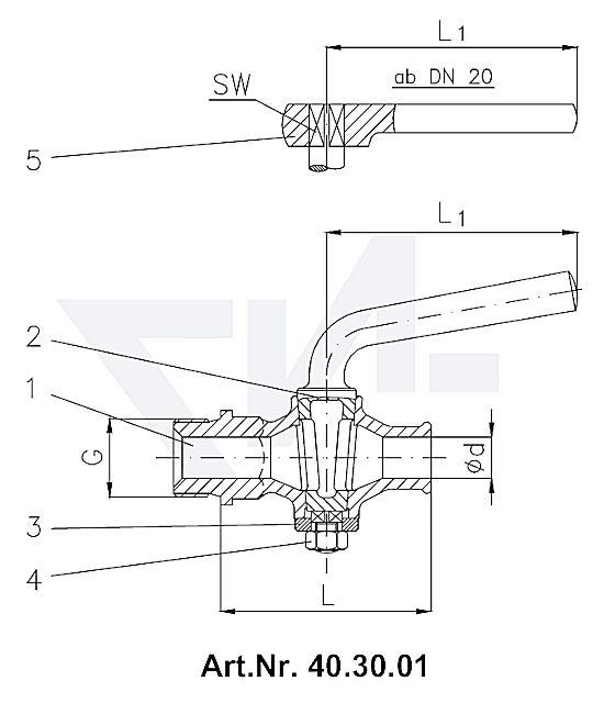 Кран дренажный DIN 87001, Rg 5 с металлической рукояткой, от DN 20 рукоятка-ключ тип 40.30.01