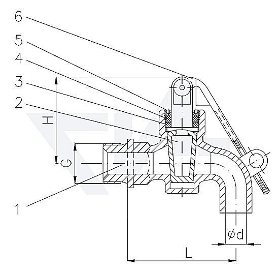 Кран маслоотборный DIN 87003, Rg 5 с сальником и откидной запираемой ручкой тип 40.30.02