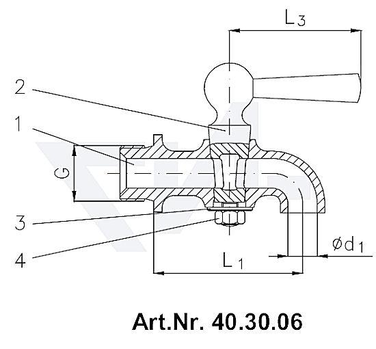 Кран дренажный (спускной кран), Ms 58 с пластиковой рукояткой тип 40.30.06