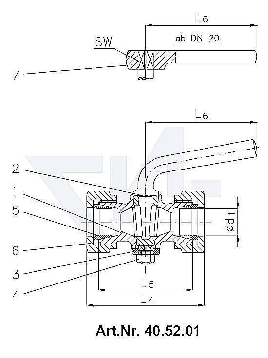 Кран-пробка двухходовой штуцерный DIN 87010, со штуцером под пайку, без сальника, Rg 5 с металлической рукояткой, от DN 20 рукоятка-ключ тип 40.52.00 / 40.52.01