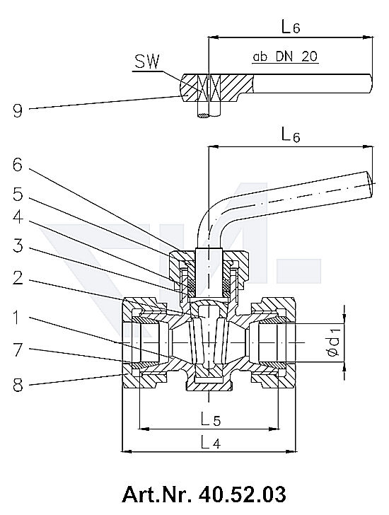 Кран-пробка двухходовой штуцерный DIN 87020, со штуцером под пайку, с сальником, Rg 5 с металлической рукояткой, от DN 20 рукоятка-ключ тип 40.52.02 / 40.52.03