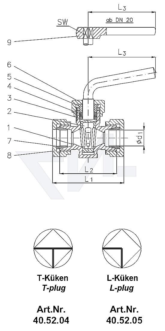 Кран-пробка трёхходовой штуцерный DIN 87020, со штуцером под пайку, с сальником, Rg 5 с металлической рукояткой, от DN 20 рукоятка-ключ тип 40.52.04 / 40.52.05