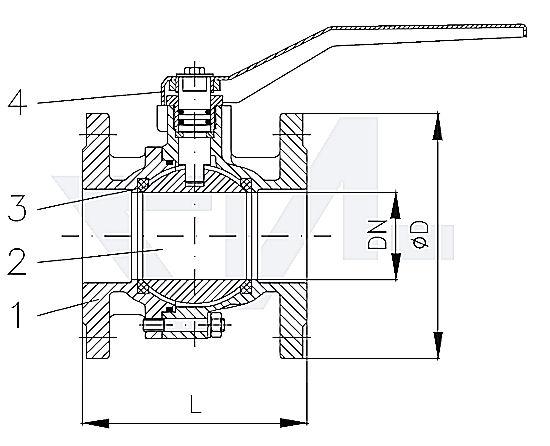 Кран шаровый фланцевый, бронза Rg 5 / хром-латунь Ms 58 PN16 полнопроходной тип 40.60.01