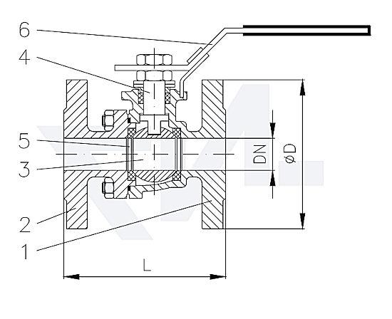 Кран шаровый фланцевый, Нерж. сталь полнопроходной, длина в соотв. с EN 558-27 PN40 тип 40.60.01-40