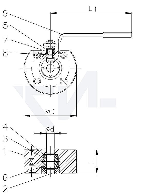 """Кран шаровый компактный """"fire-safe"""", C 21/нерж. сталь полнопроходной PN16 тип 40.66.01"""