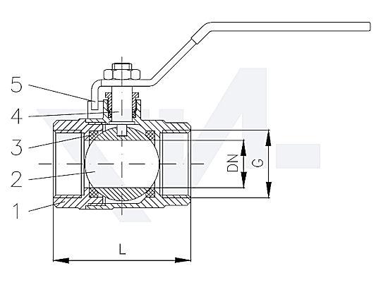 Кран шаровый муфтовый, Ms 58 никелированный вход и выход внутр. резьба BSP-(R), полнопроходной тип 40.70.01