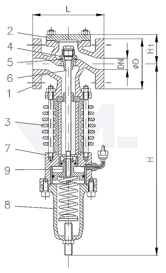 Клапан редукционный проходной фланцевый, DIN-длина, GS-C25/нерж. сталь для пара, с охлаждающим цилиндром PN40 тип 45.12.02