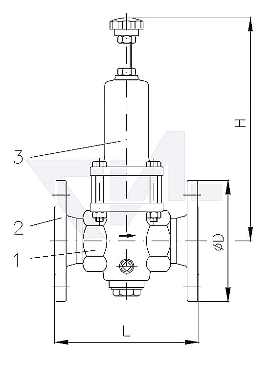 Клапан редукционный проходной фланцевый, DIN-длина, бронза Rg 5 для сжатого воздуха PN30 тип 45.20.01