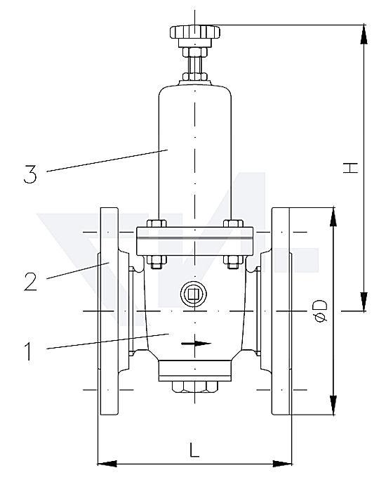 Клапан редукционный проходной фланцевый, бронза Rg 5 PN25 тип 45.20.02