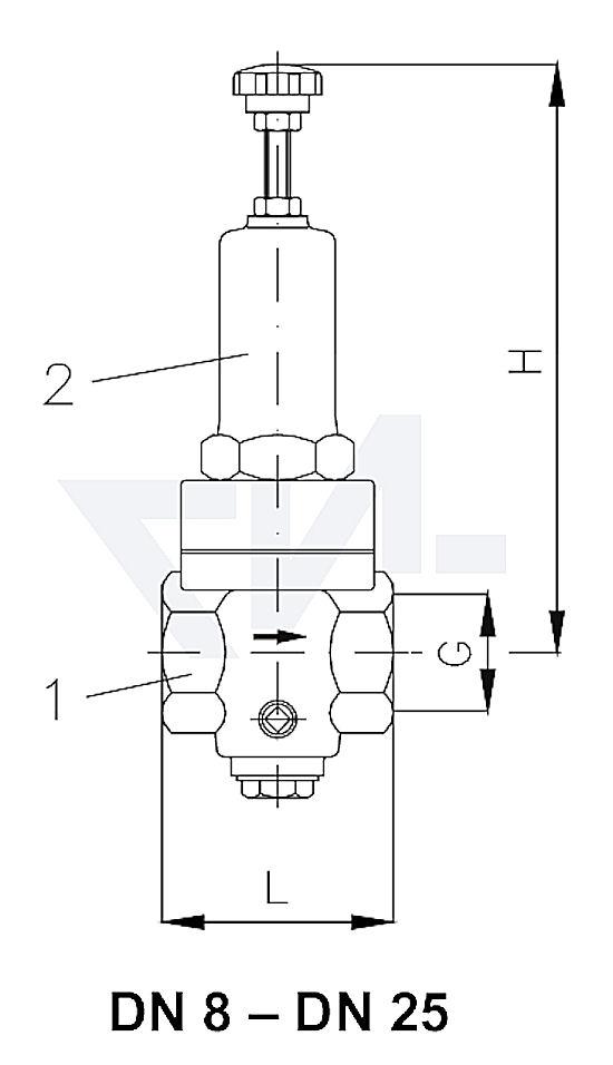 Клапан редукционный муфтовый проходной, бронза Rg 5 тип 45.50.01