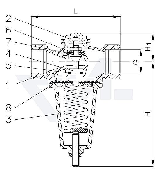 Клапан редукционный муфтовый проходной, DIN-длина, Gbz 10 для жидкостей (с металлическим уплотнением), газа (с мягким уплотнением) PN40 тип 45.51.02