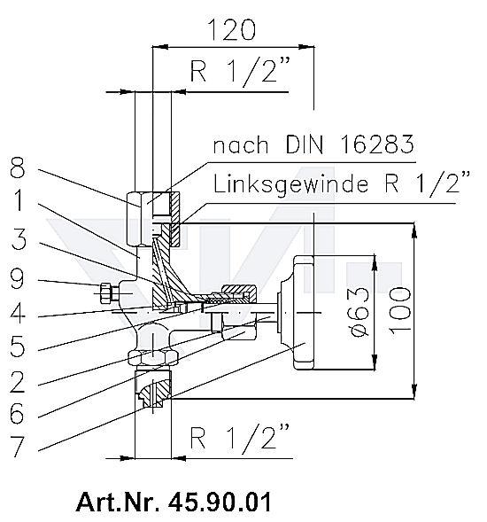 Клапан манометровый запорн. DIN тип A с ниппелем продувания Вход: наружная резьба, выход: муфта для подсоединения манометра тип 45.90.01