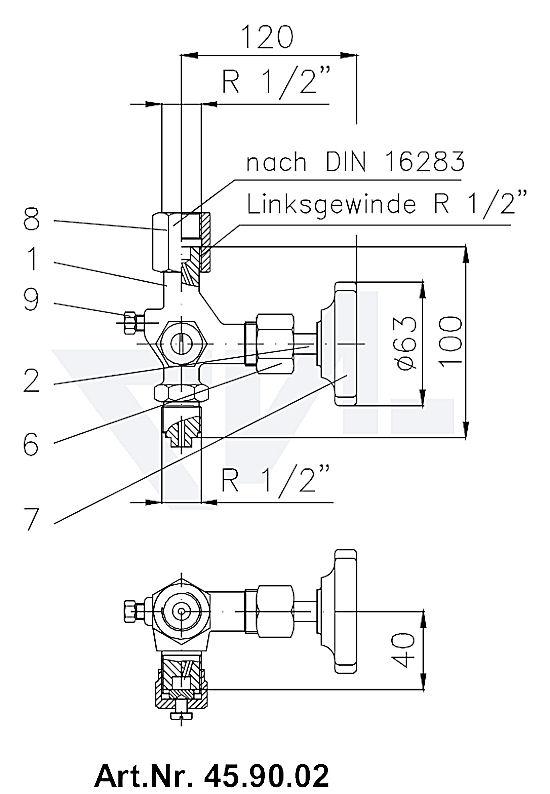 Клапан манометровый запорн. DIN тип A с ниппелем продувания Вход: наружная резьба, выход: муфта для подсоединения манометра тип 45.90.02