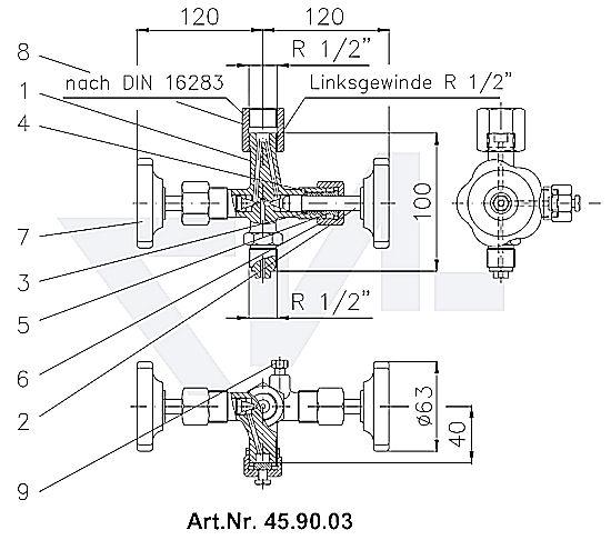 Клапан манометровый запорн. DIN тип A с ниппелем продувания Вход: наружная резьба, выход: муфта для подсоединения манометра тип 45.90.03