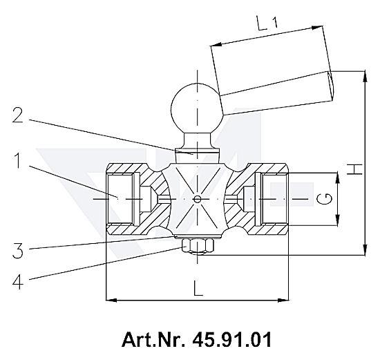 Клапан манометровый DIN 16261, Ms 58 с боковым вентиляционным отверстием тип 45.91.01
