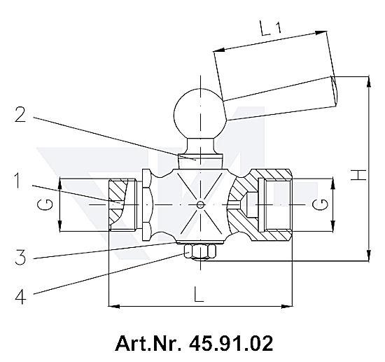 Клапан манометровый DIN 16261, Ms 58 с боковым вентиляционным отверстием тип 45.91.02