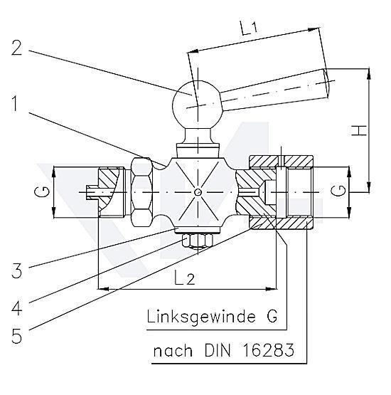 Клапан манометровый DIN 16262, Ms 58 с боковым вентиляционным отверстием тип PN25 тип 45.91.03