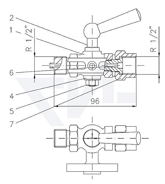 Клапан манометровый DIN 16263, Ms 58 с прямоугольным контрольным штуцером 60x25