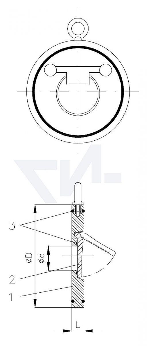 Захлопка межфланцевая сэндвич, для установки между DIN-фланцами PN16 тип 50.01.01