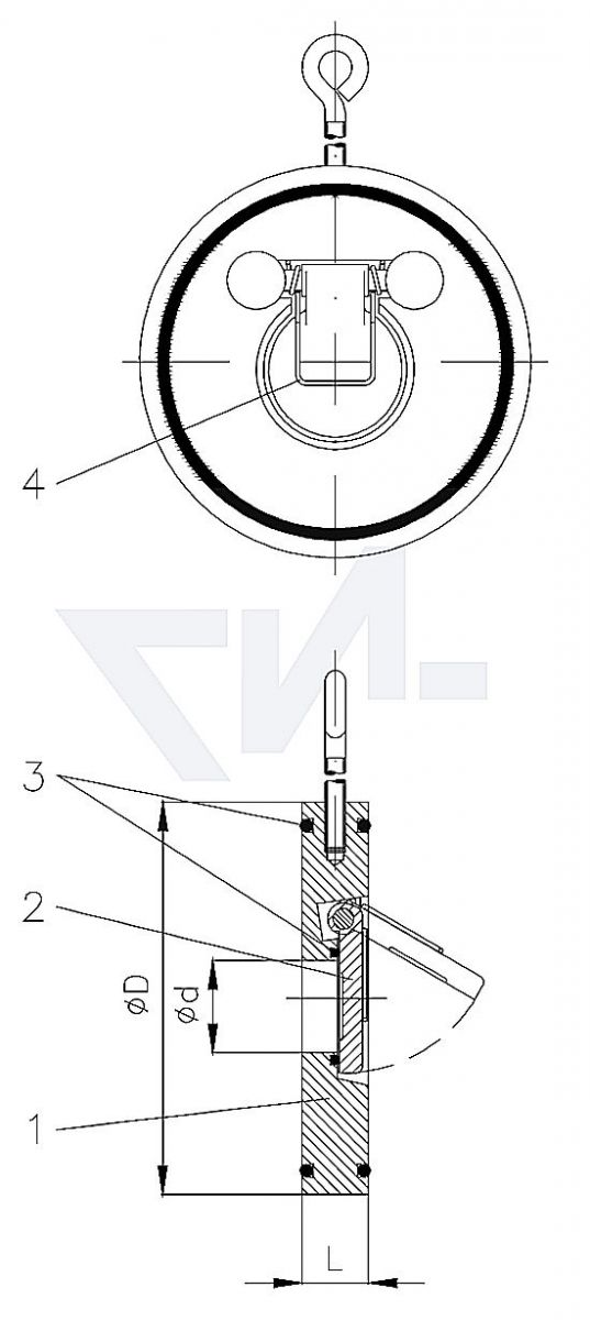 Захлопка межфланцевая сэндвич с подпружиниванием для установки между DIN-фланцами тип 50.01.21
