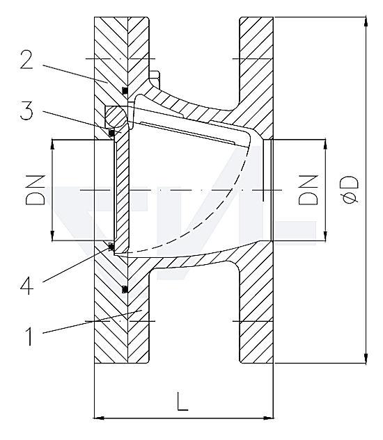 Захлопка межфланцевая полнопроходная короткого типа 50.02.01