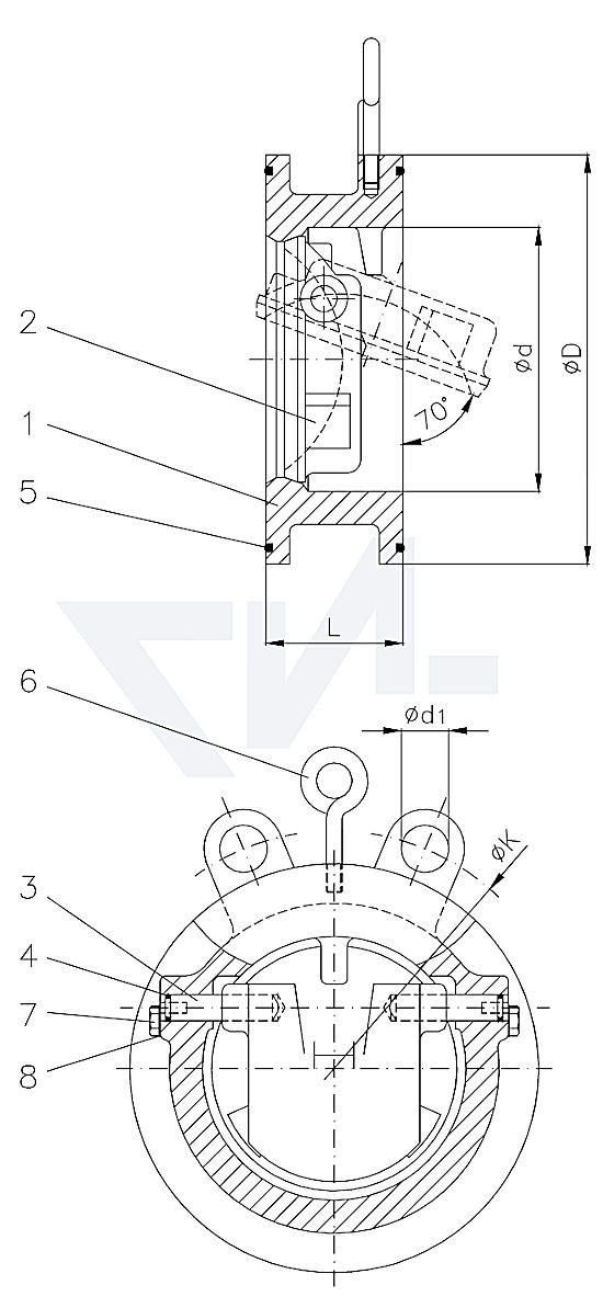 Клапан невозвратный межфланцевый, бронза Rg 10/CuAl10 Ni PN16 тип 50.03.01