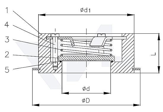 Клапаны невозвратные для установки между фланцами PN16, Gbz 12/нерж. сталь тип 50.10.01