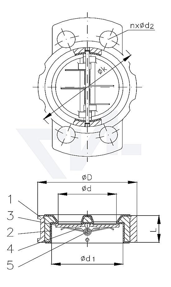 """Захлопка магистральная невозвратная """"Duo"""" для установки между фланцами мягкое уплотнение NBR, с подпружиниванием тип 50.10.23"""
