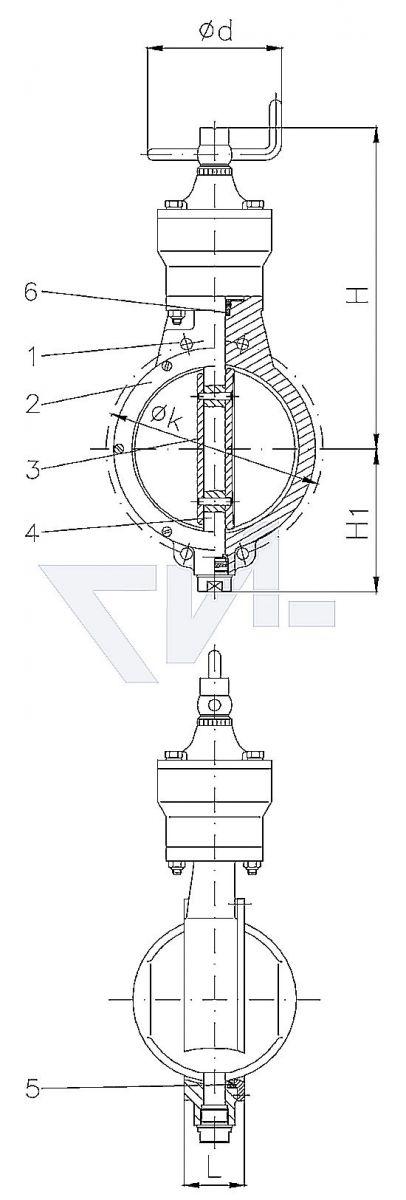 Затвор VG 85053 для установки между фланцами, Gbz 10 с механическим поворотным приводом, самоблокирующийся с индикатором положения и упором обоих концевых положений PN10 тип 50.30.03
