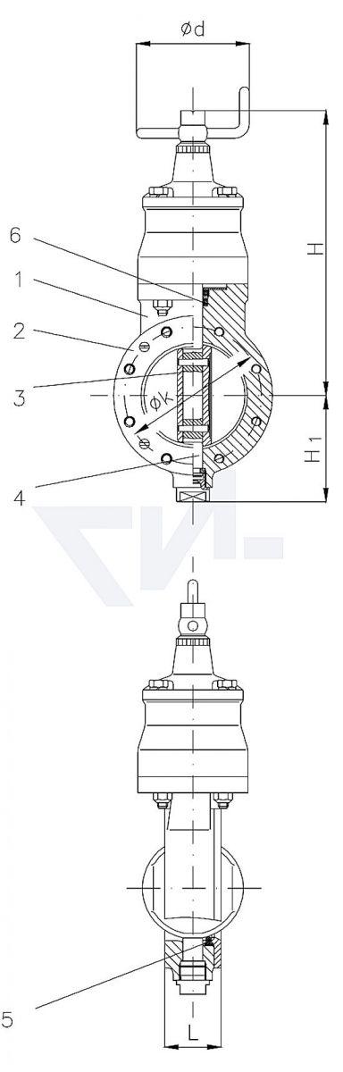 Затвор DIN 86266, Gbz 10 для фланцев сверхлёгкого типа с механическим поворотным приводом, самоблокирующийся с индикатором положения и упором обоих концевых положений тип 50.32.03 / 50.33.03