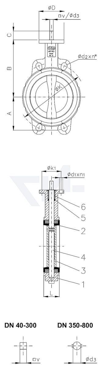 "Затвор дисковый безфланцевый ""Wafer"" для установки между фланцами, GGG 40.3/Al-Bronze тип 50.61.01"