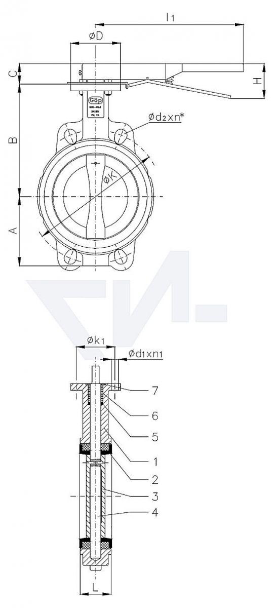 "Затвор дисковый безфланцевый ""Wafer"" для установки между фланцами, GGG 40.3/Al-Bronze тип 50.61.02"