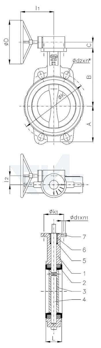 "Затвор дисковый безфланцевый ""Wafer"" для установки между фланцами, GGG 40.3/Al-Bronze тип 50.61.03"