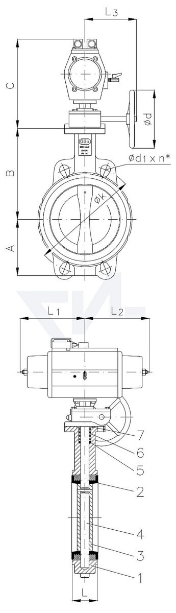 "Затвор дисковый безфланцевый ""Wafer"" с пневмоприводом для установки между фланцами, GGG 40.3/Al-Bronze PN10 тип 50.61.05"