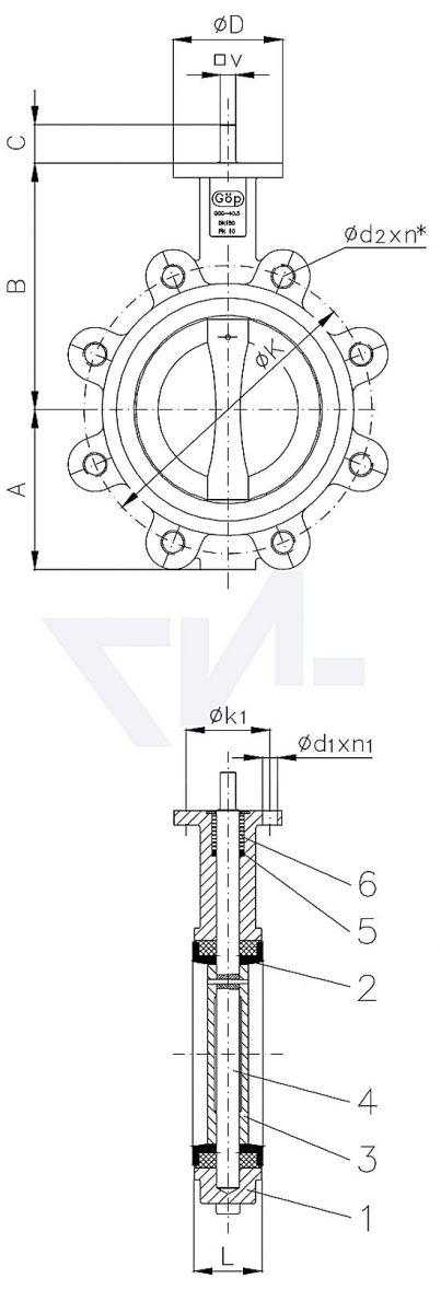 "Затвор для установки ""на фланец"", GGG 40.3/Al-Bronze PN10 тип 50.63.01"