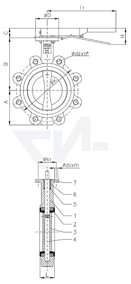 "Затвор для установки ""на фланец"", GGG 40.3/Al-Bronze тип 50.63.02"